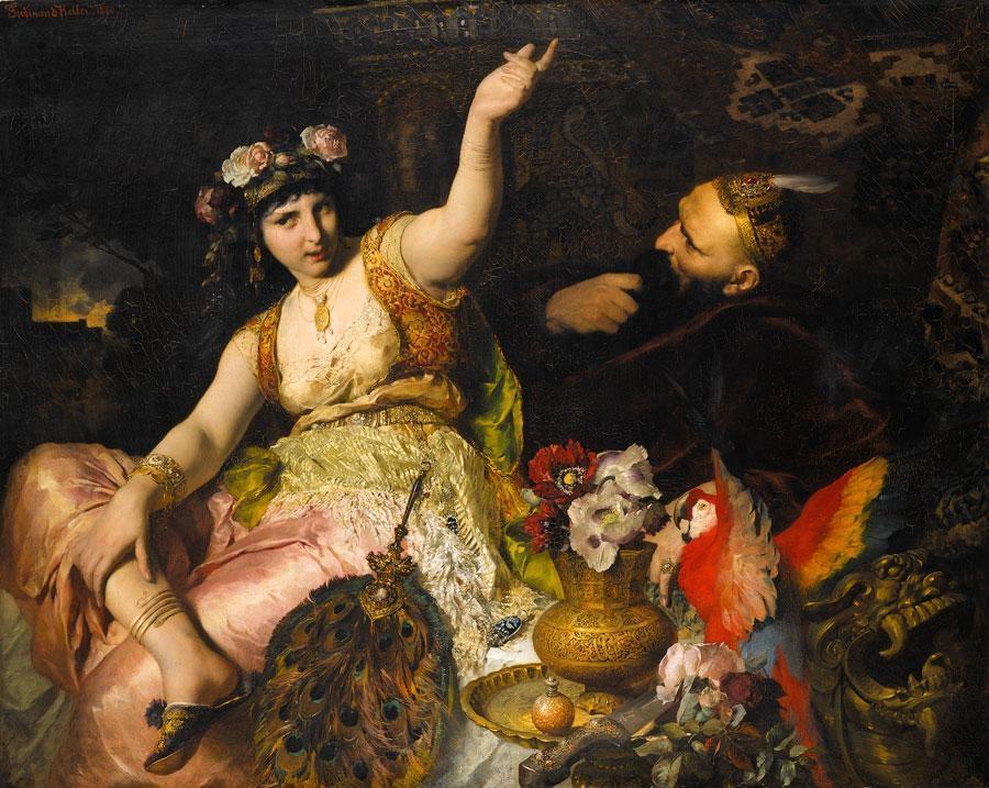 ferdinand_keller_-_scheherazade_und_sultan_schariar_1880